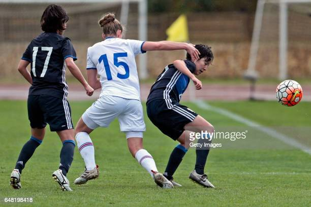 Yui Hasegawa and Hikaru Kitagawa of Japan Women challenges Elin Metta Jensen of Iceland Women during the match between Japan v Iceland Women's...