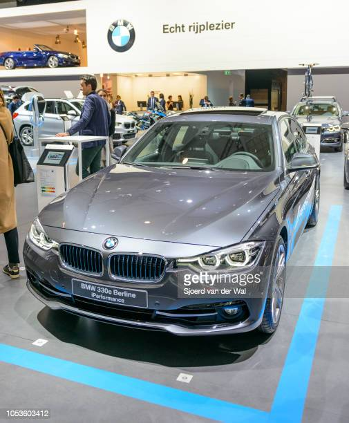 Serie 330e Performance plug-in hybrid car on display at Brussels Expo on January 13, 2017 in Brussels, Belgium. The 330e is fitted with a...