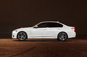 BMW 3-series in plug-in hybrid version at night