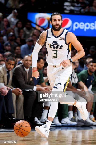 Utah Jazz guard Ricky Rubio handles the ball during the game against the Denver Nuggets on November 3 2018 at the Pepsi Center in Denver Colorado...