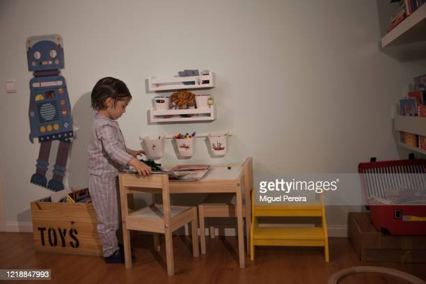 3yearold chile Lucas Pereira strives to find entertainment at home on April 14 2020 in Majadahonda Madrid Spain during the COVID lockdown More than...