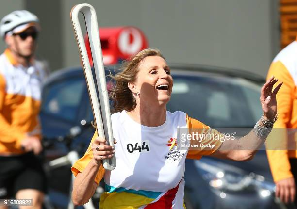 400m Hurdles Olympic Gold Medallist Debbie FlintoffKing carries the Queens Baton during the Queens Baton Commonwealth Games relay in Frankston on...