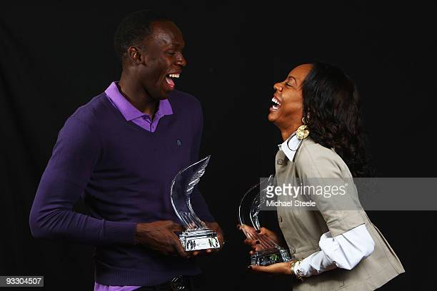 400m World Champion and 4×400m Olympic Champion Sanya Richards of USA and World and Olympic Sprint Champion Usain Bolt of Jamaica winners of the...