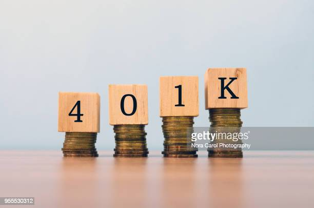 401k text written on wooden block with stacked coins