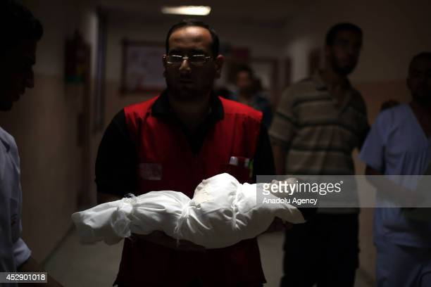 40day old Palestinian baby Kerem Ebu Zeyid died at the Nasser Hospital after receiving injuries during an Israeli rocket attack on his house in Gaza...