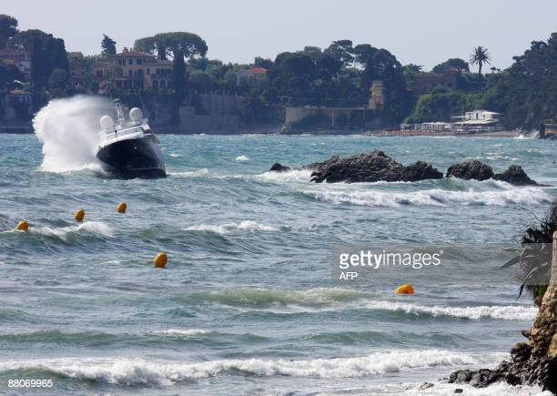 Meter yatch occupied by Germans is seen grounded on a rocky bay near Cap Ferrat on the south coast of France, on May 30, 2009. The accident occured...