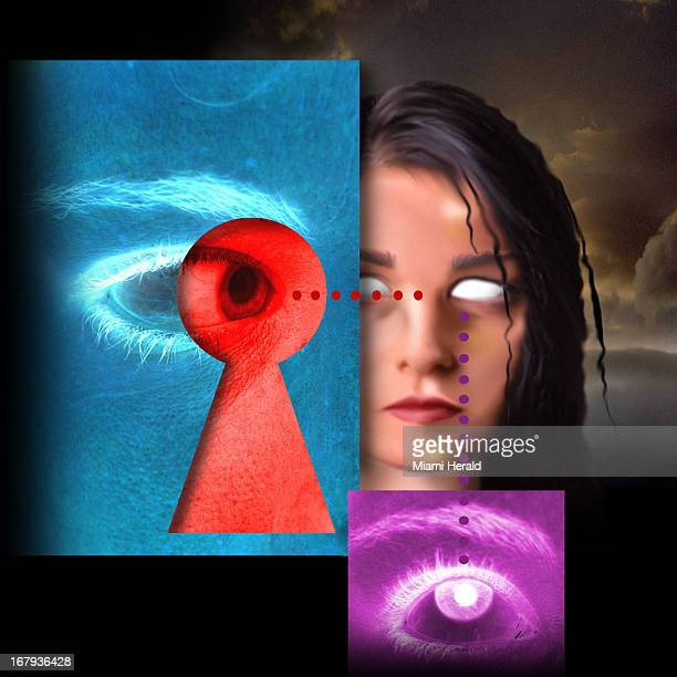 40p x 40p color illustration of eyes looking through keyhole at a girl can be used with stories about parents spying on their children