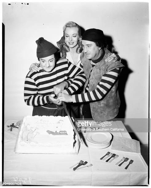 40th birthday 6 March 1952 Lou Costello Bud AbbottHillary BrookeCaption slip reads 'Handout Date Lou Costelo is feted by Bud Abbott Hillary Brooke on...
