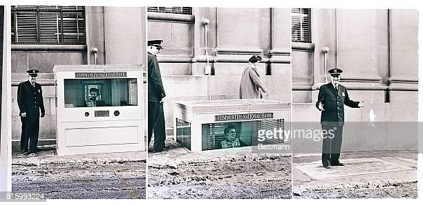 4/10/1957Pontiac Michigan Here is the curbside teller's cage of the Community National Bank in Pontiac MI in the 'nowyouseeit nowyoudon't' operation...
