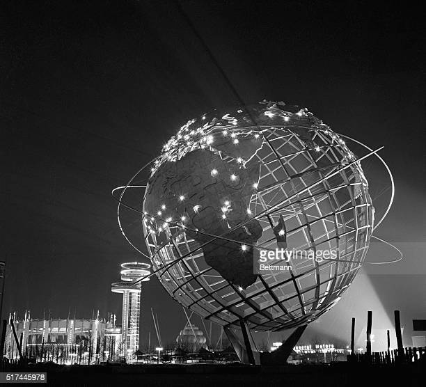 New York, New York-: A view of the World's Fair symbol, the Unisphere, at night. The lights on the Unisphere represent the capital cities of the...