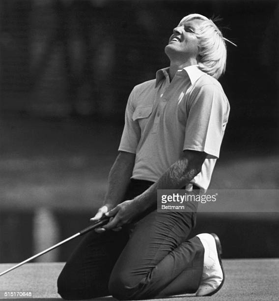 Augusta, GA- Greg Norman, of Australia, finds his missed putt for an eagle on the 15th hole almost too much to bear during the 2nd round of the...