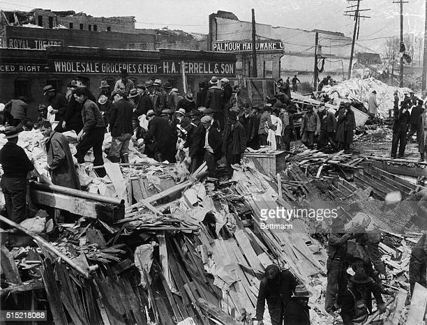 Gainesville, GA- WPA workers in Georgia were rushed into this stricken town immediately after the disastrous tornado which took almost 200 lives...