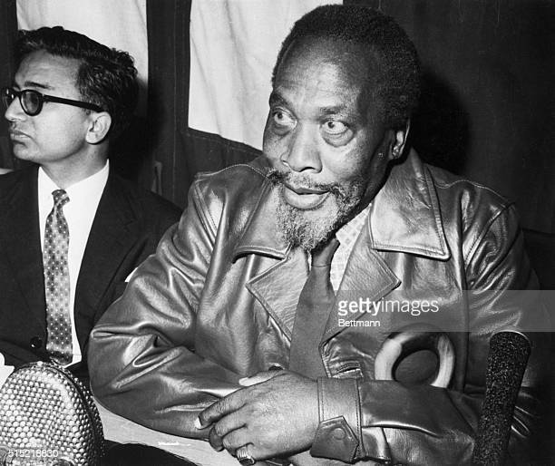 4/11/1961Maralal Kenya Kenya nationalist leader Jomo Kenyatta M71 is shown at his first news conference since security restrictions were eased by...