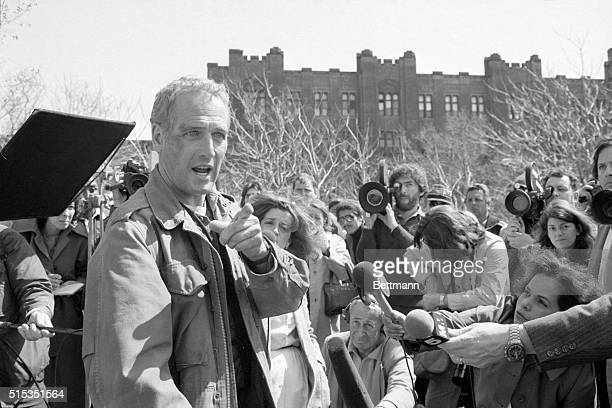 4/11/1980New York NY Actor Paul Newman at a press conference on a vacant lot in the South Bronx April 7 speaks up against criticism of the script of...