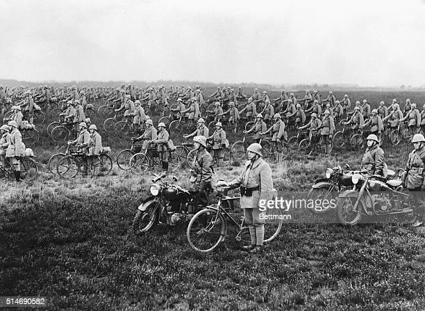 4/11/40Amsterdam Holland The famous Dutch bicycle regiment at attention ready to speed toward the German frontier should danger from the Nazis...
