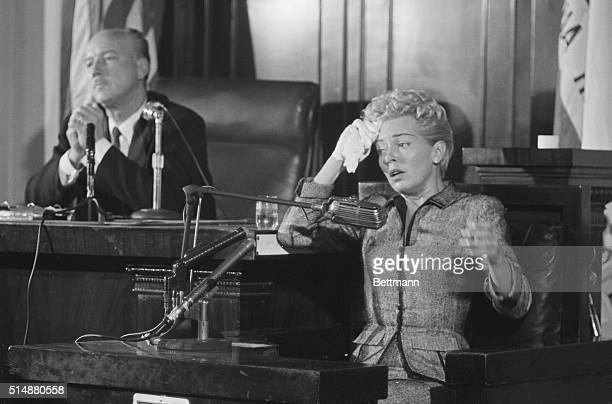 4/11/58Los Angeles California Showing the strain actress Lana Turner appears on the verge of collapse as she testifies at the inquest into the death...