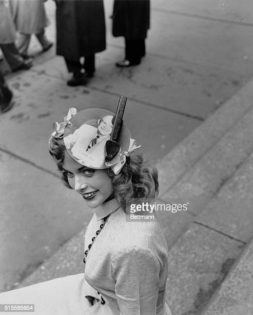 4/13/1952New York NY Pretty Miss Lauretta Laakso let her enthusiasm for General Dwight Eisenhower go to her head Her unusual Easter bonnet is...