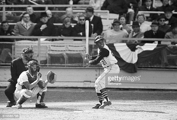 New York, NY: Roberto Clemente of the Pittsburgh Pirates, batting during a game in Shea Stadium against the Mets.