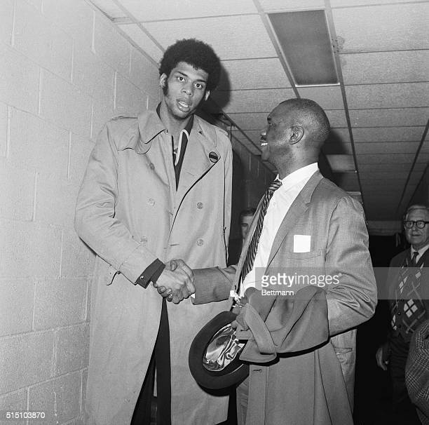 4/14/1970New York NY Unanimous choice for the NBA Rookie of the Year Lew Alcindor is congratulated by his father Lew Alcindor Sr Honored by sports...