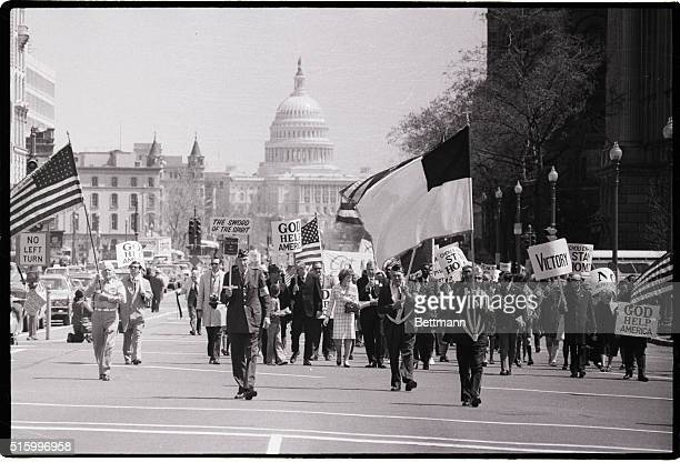 4/14/1973Washington DC Fundamentalist preacher Dr Carl McIntire sponsor of 'United States March for Victory' leads the anticommunist demonstrators...
