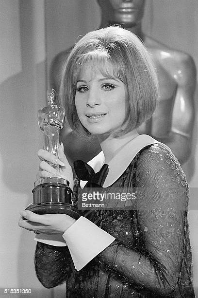 4/14/69Los Angeles CA Barbra Streisand holds her Oscar after she was named cowinner of the Best Actress Award in the 41st Annual Academy Awards...