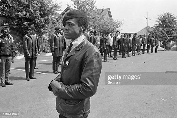 4/15/1968Hollywood CA Black Panther Captain Kenny Denmon at memorial services for a slain member of the outfit in Berkeley California in this 1968...