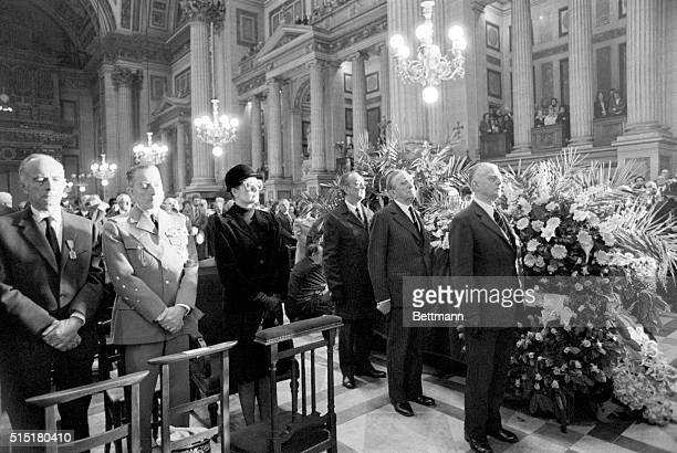 4/15/1975Paris France Veterans of the French Resistance stand at attention at the bier of Josephine Baker during funeral services in the Madeleine...