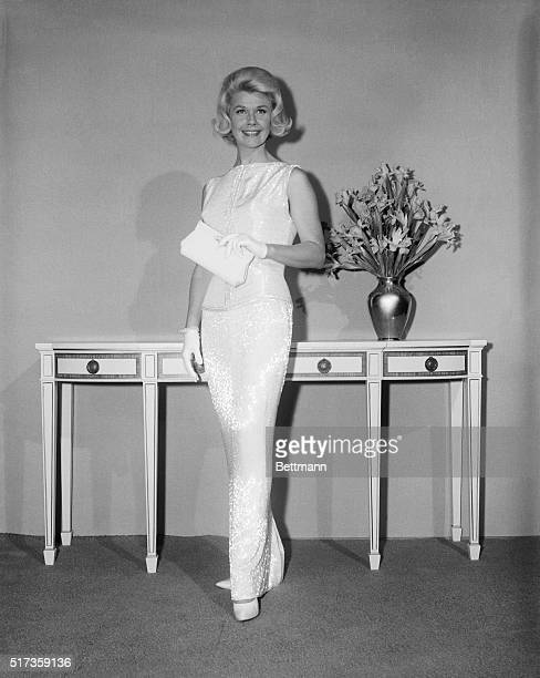 4/1/60Hollywood CA Doris Day Oscar Nominee for Best Actress in Pillow Talk with Rock Hudson offers a look at the gown she will wear to the 32nd...