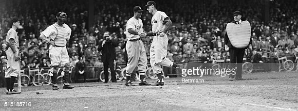 4/17/1946Washington DC 'Lanky' Ted Williams outfielder for the Boston Red Sox gets a handshake from Bobby Doerr as he crosses home plate after...