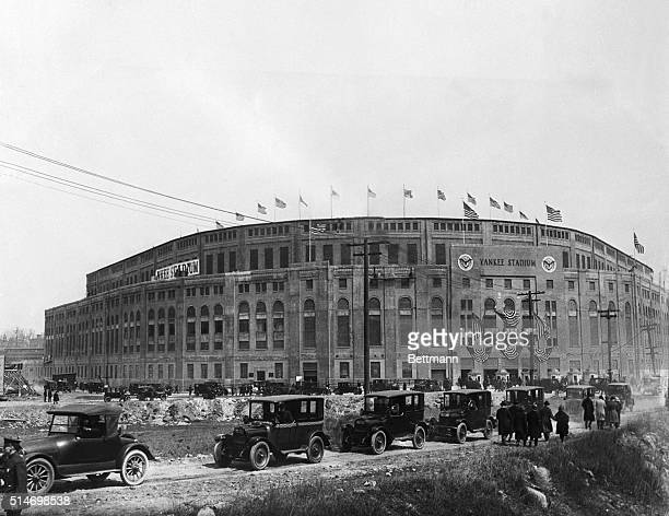 4/18/1923New york NY Yankee Stadium Opening DayA view of the Stadium as cars are parked outside the stadium