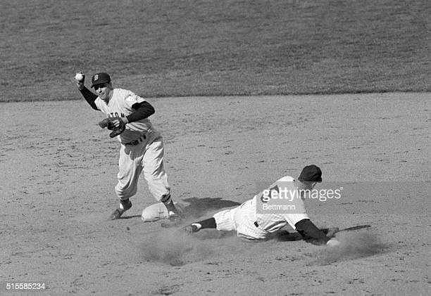4/18/1951New York NY Yankees' Joe DiMaggio is out at second base on a fourth inning force play at Yankee Stadium Boston Red Soxer Walt Dropo threw...