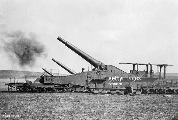 A battery of 320mm cannons in region of Reims France the offensive of April 1917