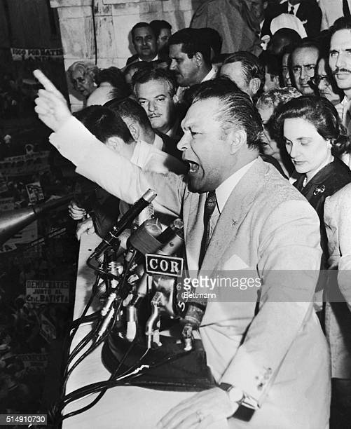4/19/1957Havana CubaGesturing animatedly with his outstretched arm Cuban President Fulgencio Batista is shown above in this most recent photo...