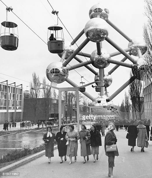 4/19/1958Brussels Belgium The first thing that strikes the eye of a visitor to the 1958 World's Fair is the 320 foot high Atomium This impressive...