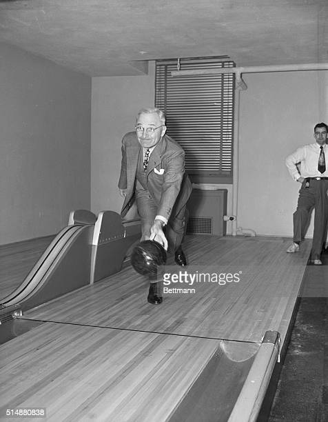 4/19/48Washington DC Harry S Truman the Missouri Southpaw followed form today when he inaugurated the newlyinstalled bowling alleys in the basement...