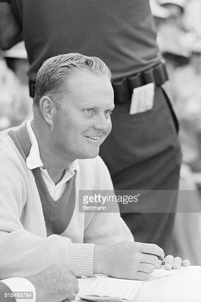 4/1965Augusta GA Golfer Jack Nicklaus is shown at the scorer's table following his win of the Masters Tournament