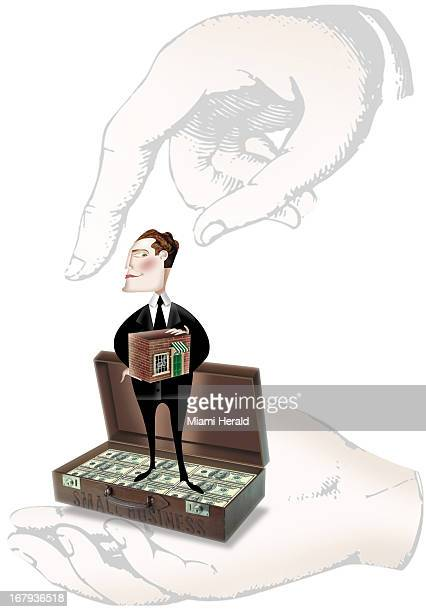 41p x 59p Ana Lense Laurrari color illustration of large hands holding a businessman The businessman holds a small store and stands in a suitcase...