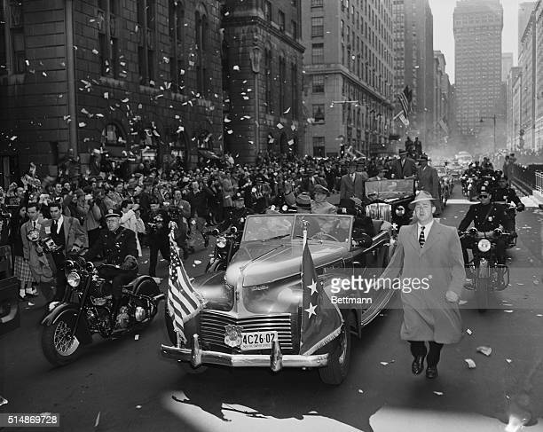Park Avenue where a speck of dust causes elevated eyebrows threw the rule book away in honor of General MacArthur today and littered its stately...