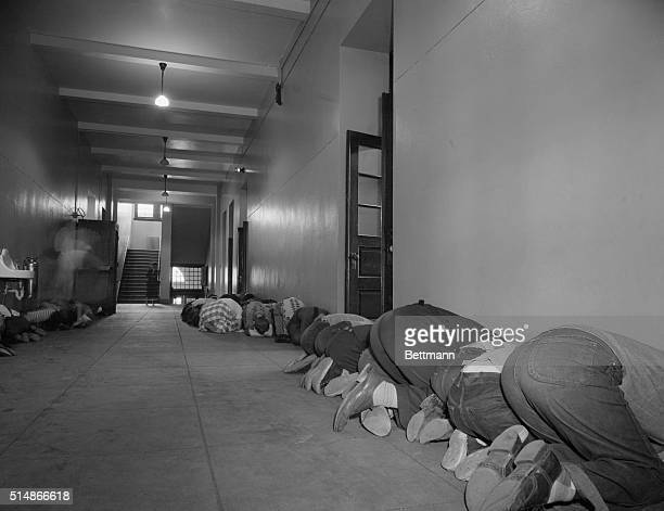 4/20/1951Washington DC This was the scene in the corridor at Thomson School in Washington DC during their air raid alarm drill The children lined...