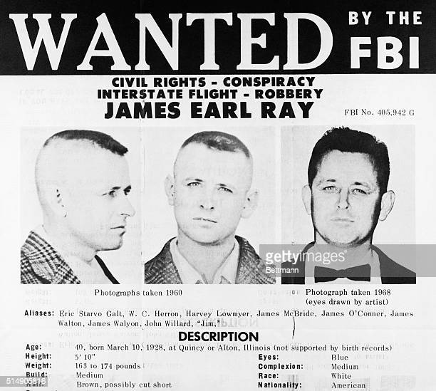 4/20/1968Washington DC The FBI issued this flyer when they placed the name of James Earl Ray a Missouri prison escapee sought in connection with the...