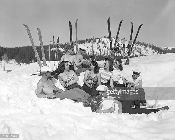 4/21/1949Soda Springs CA The snow might be cold but the sun is hot at the Donner Summit area of California For spring skiing the enthusiasts wear few...
