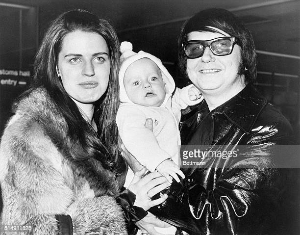 4/21/1971London England Singer Roy Orbison and his wife Barbara hold their sixmonthold son Roy Kelton Jr on their arrival in London from Dublin Their...