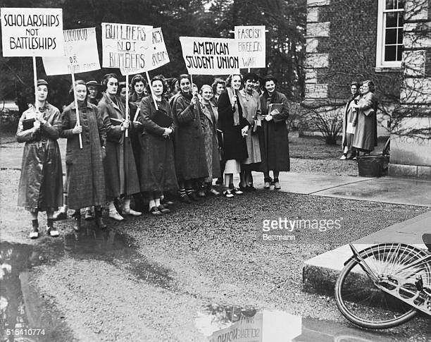 4/22/1937Poughkeepsie NY Here are few of the 1000 students at Vassar College who participated in a colorful demonstration and parade as a unit of...