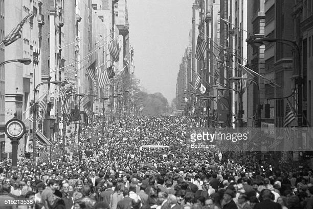 4/22/1970New York NY Fifth Avenue reminiscent of some European promenade is filled with thousands of people just after the fashionable street was...