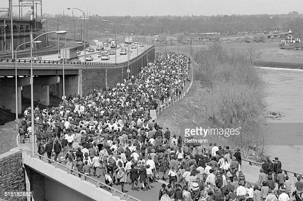 4/22/1970Philadelphia PA Thousands of young people stretched out over a mile walking along a closed river drive during a Philadelphia Earth Walk The...