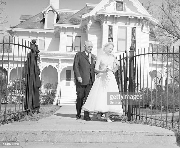 4/22/56Independence Missouri Former President Harry S Truman escorts his daughter Margaret from thier home on the way to the church for her marriage...
