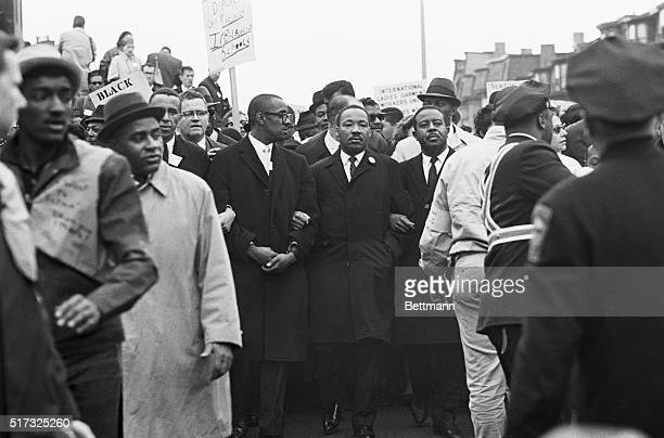 Dr Martin Luther King leads march from Roxbury to Boston Common in protest of racial imbalance in Boston Schools and slum housing conditions At left...