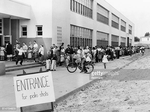 San Diego, California: First and second graders at the Kit Carson School here line up for Salk Polio vaccine shots April 16th. San Diego was the...