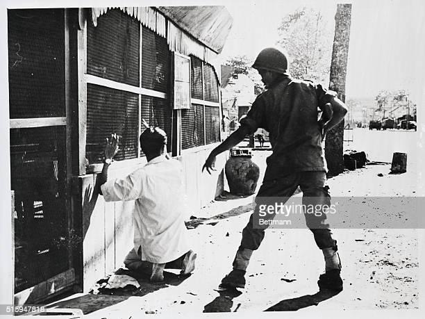 Saigon, South Vietnam: Troops of American backed Premier Ngo Diem and the rebel Binh Xuyen sect fought a breif street battle with machine guns. A...