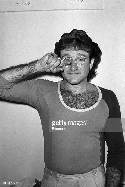 4/24/1979New York NY Robin Williams 'Mork' in television's 'Mork and Mindy' still is entertaining at a party at Sardi's after he and other stars...